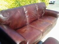 2 x 3 leather settee's in used condition, with some age related marks as shown in photos.Length 9ft