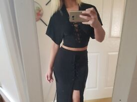 Missguided black lace up co ord outfit