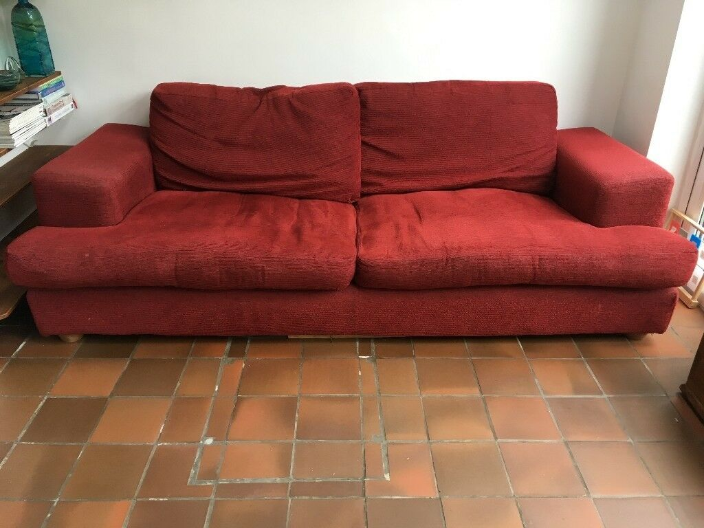 SOFA - RED CORDUROY 3/4 SEATS - Free | in Twickenham, London | Gumtree