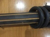 Black/gold painted chunky wooden curtain poles x 2