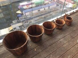 Wood and metal planters (set of 5)