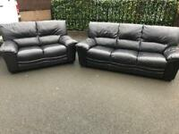 📣 3 & 2 ~ Reid's black full leather ~ sofas suite