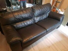 2 Black Leather settees **FREE DELIVERY**