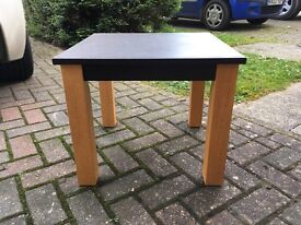 Faux brown leather and oak effect coffee table
