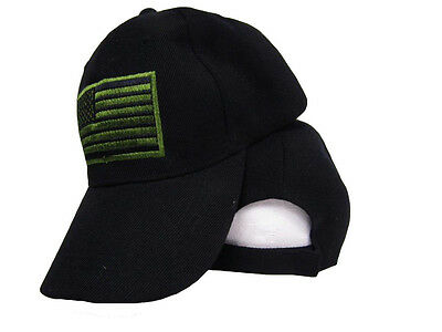 For sale USA US U.S. America American Flag Green Patch Black Baseball Cap Hat