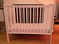 Space Saver baby Cot / Crib - White + Mattress