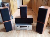 Mordaunt Short Surround Sound Home Cinema System! Complete with amp, sub and stands!