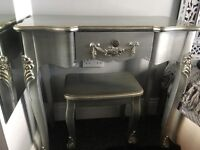 Silver dressing table with stool