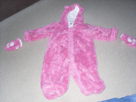 Pink bear all in one winter suit/coat 12-18 months