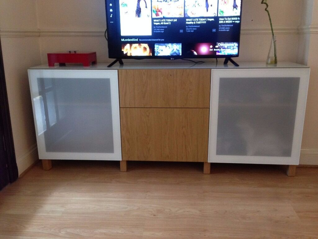 ikea besta customised oak tv stand storage combination with drawers and white frosted glass. Black Bedroom Furniture Sets. Home Design Ideas
