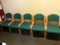 Green and Beech effect waiting room chairs