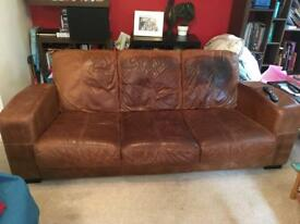 Large three seat leather sofa free on collection