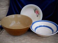 3 OLD LARGE MIXING/SERVING BOWLS.