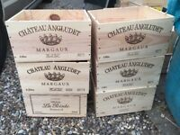 Wooden wine boxes, wine crates, shabby chic, storage