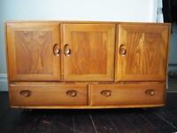 Ercol Windsor Golden Dawn Retro Elm Mid Century Sideboard Cupboard Unit