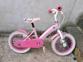 Girls Hello kitty pink and white bike.