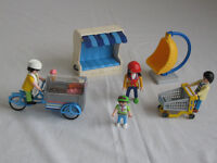 PLAYMOBIL ICECREAM MAN ON BIKE & CART /SWINGING CHAIR /Shopping TROLLY / SEAT WITH A CANOPYANOPY