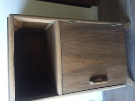 Solid wood bedside table, oak, around 1930's