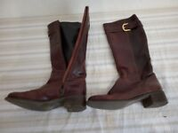 Pre-owned quality women's brown leather boots - size 37/4.