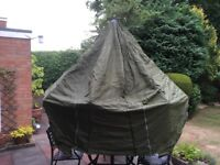 Fishing tent fits over 60-72 inch umbrella. Great condition, no damage . Comes with bag and pegs