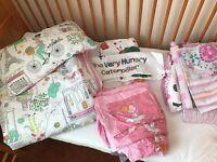 For cot/toddler bed: Duvet + pillow + 3 duvet covers