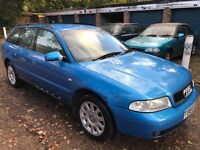 Audi A4 1.9 TDI SE 1896cc Turbo Diesel 5 speed manual 5 door estate T Reg 12/05/1999 Blue