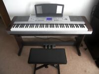 Yamaha DGX-640 , 88-Key Hammer Standard Portable Grand Piano with Keyboard Stand , Pedals and Stool.