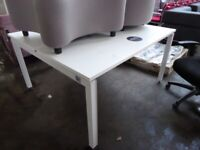 2 positions workstation desk table white