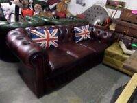 Stunning Chesterfield 3 Seater Sofa Counch in Oxblood Red Leather Low back - Uk Delivery