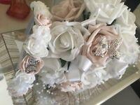 Medium bridal bouquet and flower girl head band