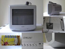 SONY Trinitron Grey COLOUR Small Analogue TV Television KV-14LT1U 14 with Aerial £40 ONO