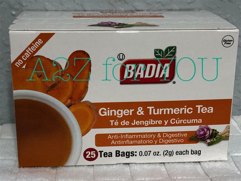 BADIA GINGER AND TURMERIC TEA. TE DE JENGIBRE Y CURCUMA 25 B
