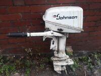 johnson 5hp outboard short shaft with tiller