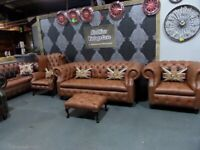 NEW Chesterfield Suite 3 Seater Sofa, Wing Back & Club Chair Footstool Tan Leather UK Delivery