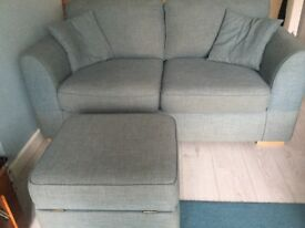 2 x 3 seater seetees in blue and a storage footstool