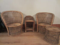 Wicker / cane conservatory / patio furniture, 2 chairs and 2 side tables