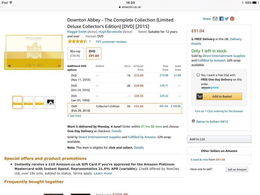 NEW Downton Abbey DVD Limited Edition Deluxe Boxset - Amazon £91.04 ...