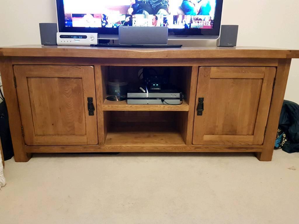 Solid Oak Tv Stand Cabinet Unit Furnitureland Original Rustic