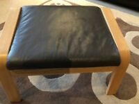 IKEA POANG OAK FOOTSTOOL WITH BROWN LEATHER CUSHION