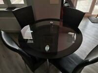 Glass Dining Table & 4 Chairs - Used