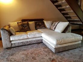 Fabulous BRAND NEW brown and mink crushed velvet corner sofa ,new and packed ,can deliver