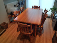 Solid Pine Dining Table with 6 Chairs (x2 Spare chairs if wanted)