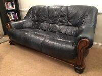 Two Beautiful Leather and Mahogany Couches