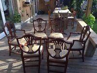 6 X Dinning chairs of which 2 are Carvers. Regency style