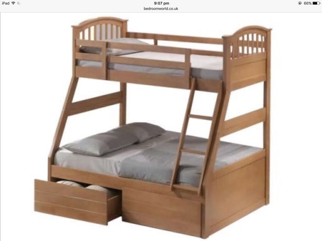 Joseph triple sleeper maple bunk beds with mattresses