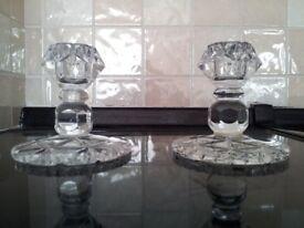 Vintage Stourbridge Crystal Glass Candle Holders