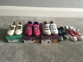 4 pairs Clark's shoes and 1 converse