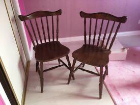 2 wooden farmhouse cottage vintage chairs