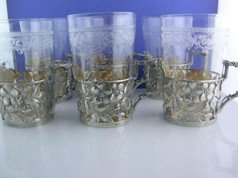 6 - 800 Silver Cup Holders w/ Glass Inserts Incredible floral vine leaf patterns
