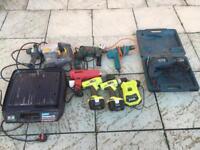 Job Lot Of Drills, Bosch, Ryobi, Titan, Black And Decker, Tile Cutter